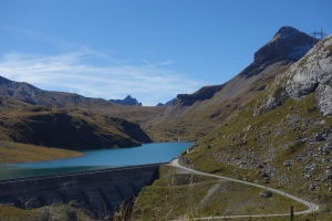 We followed the windy road past the dammed lake to the pass, along one of the highest paved roads in Switzerland
